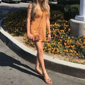 Pac Sun Floral Orange Mini Dress